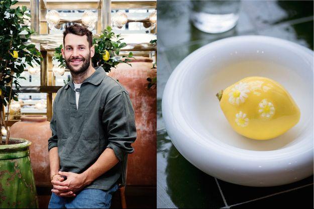 Simon Porte Jacquemus A d. : 'inimitable citron trompe-l'œil de Cédric Grolet, décoré de pâquerettes pour fêter le printemps