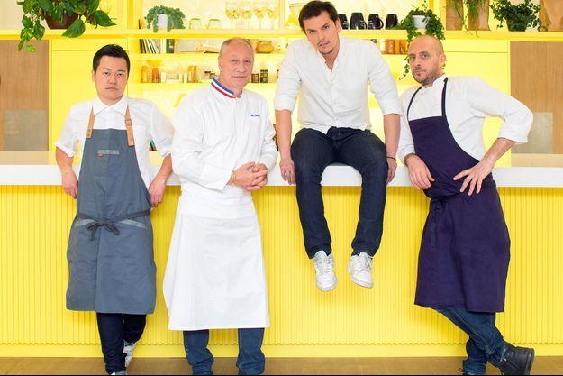 Les quatre chefs du «gang» de Frichti : Taku Sekine, Eric Frechon, Juan Arbelaez et Giovanni Passerini.
