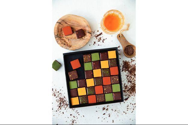 Coffret de chocolats aux spiritueux d'exception : gin, rhum, cognac... (36 euros).