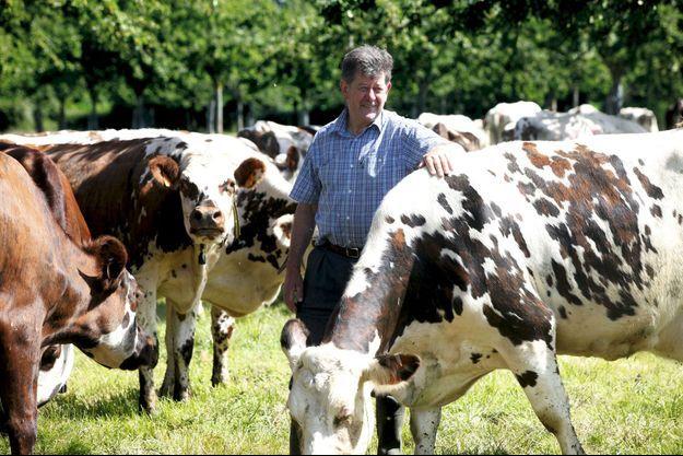 Ses vaches normandes paissent dans les prairies naturelles.