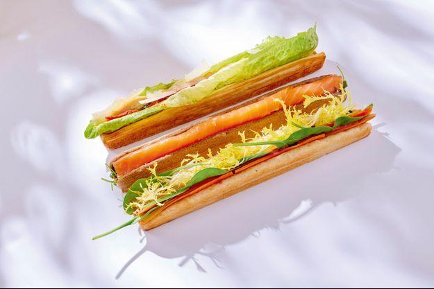 César, saumon fumé ou végan, les très chics sandwichs du Ritz Paris Le Comptoir. Au centre : le green dwitch de Plan D, bel hommage au végétal.
