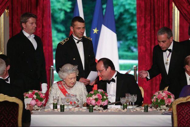 Dîner d'Etat, avec Elisabeth II, à l'Elysée le 6 juin 2014 pour le 70e anniversaire du Débarquement.
