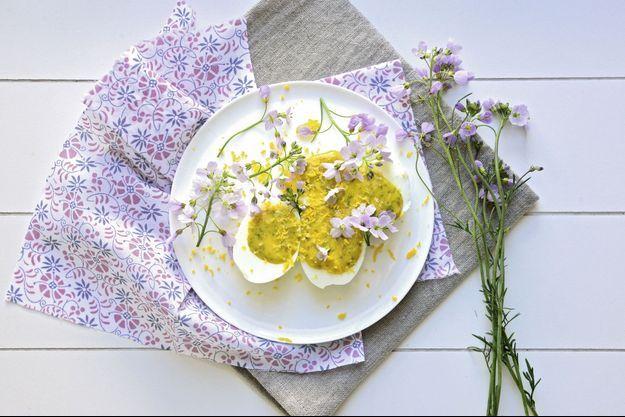 Oeufs mimosa à la cardamine