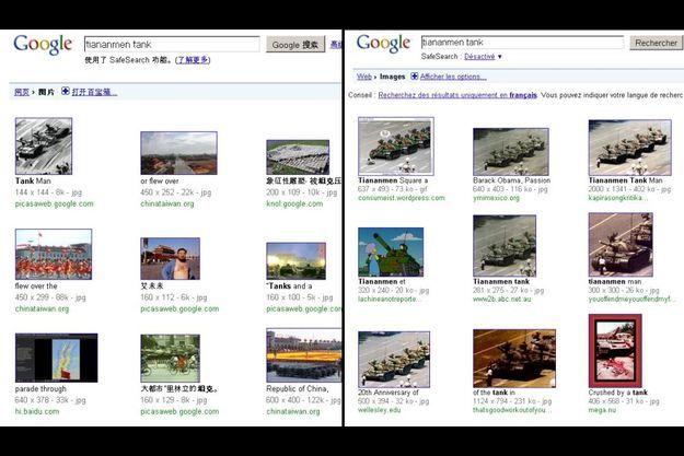 """Recherche des mots clés """"tiananmen tank"""" dans Google Images. A gauche en Chine; à droite en France."""