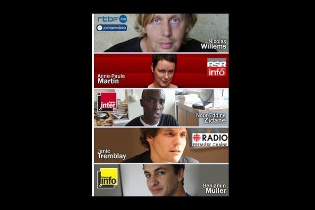 Les cinq journalistes participant à l'expérience.