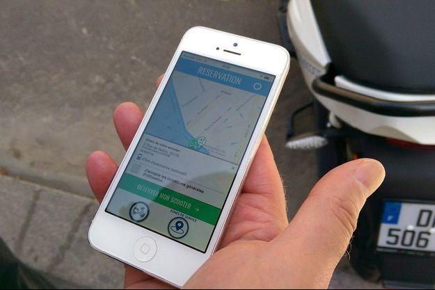 L'application CityScoot, qui permet de géolocaliser et de réserver un scooter électrique dans Paris.