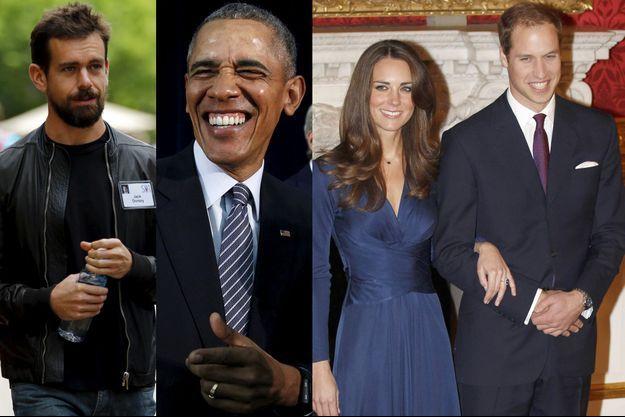 Jack Dorsey, le fondateur de Twitter, Barack Obama, Kate et William.