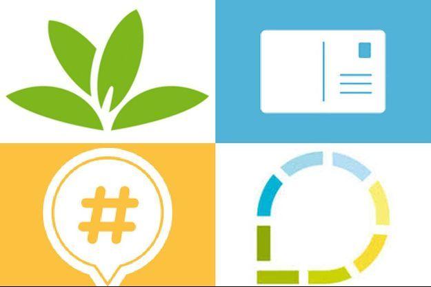 De haut en bas et de gauche à droite, les logos de PlantNet, MAPSTR, Fizzer et Waynote
