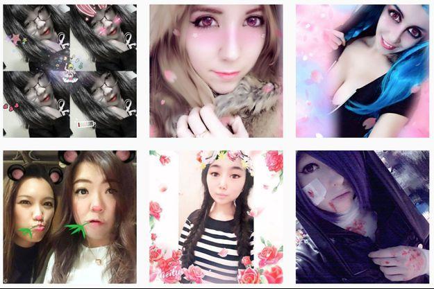 Capture d'écran de selfies pris avec Meitu et publiés sur Instagram.