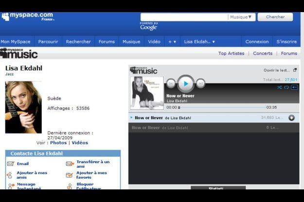La page MySpace de la chanteuse suédoise Lisa Ekdahl