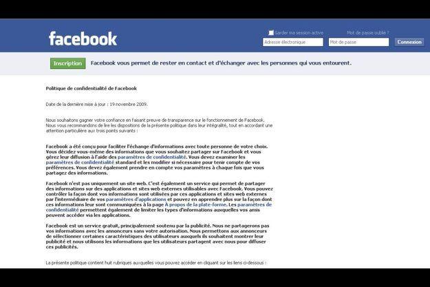 """Capture d'écran de la page d'accueil de la rubrique """"Confidentialité"""" dans les """"Paramètres"""" facebook."""