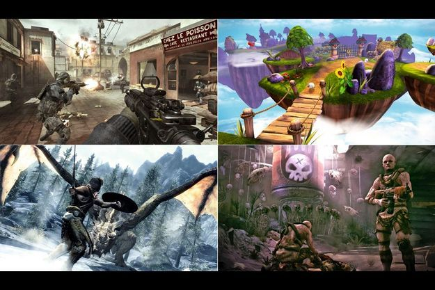 De gauche à droite : « Call of Duty. Modern Warfare 3 », « Skylanders. Spyro's Adventure »,« The Elder Scrolls V. Skyrim », « Rage »