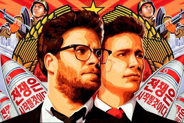 """Seth Rogen et James Franco sur l'affiche de """"L'interview qui tue""""."""