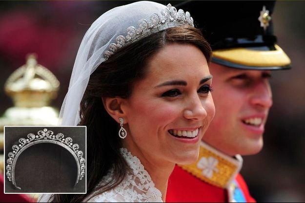 Pour son mariage, le 29 avril 2011, Kate porte la tiare que la reine Elizabeth II a reçue pour ses 18 ans.