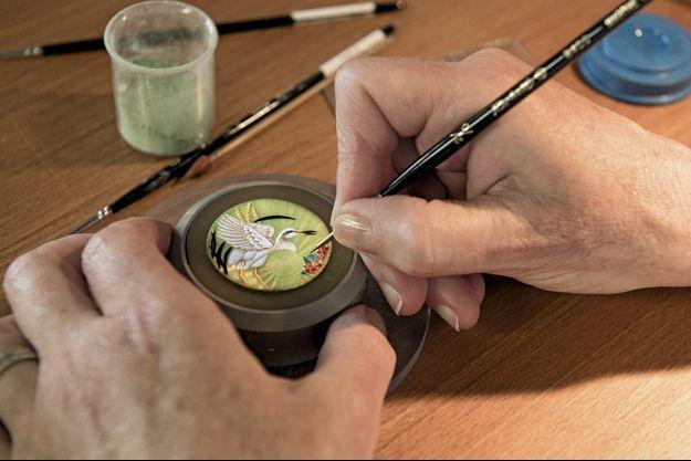 Oeuvre miniature pour une montre d'exception réalisée par Anita Porchet.