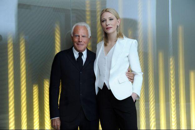 Giorgio Armani et Cate Blanchett à Milan, le 17 mai dernier.