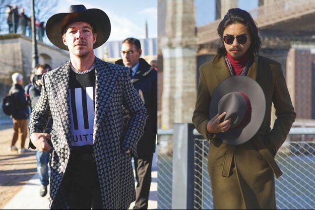 A g. : le rappeur Diplo au défilé Louis Vuitton Homme, en janvier. A dr. : le bloggeur et styliste Denny Balmaceda.