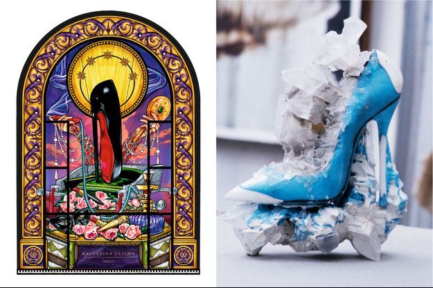 A g. : Vitrail « Ballerina Ultima » réalisé par les artisans de la Maison du vitrail à Paris. A d. : Ebauche du soulier de cristal, ateliers Stéphane Gérard.