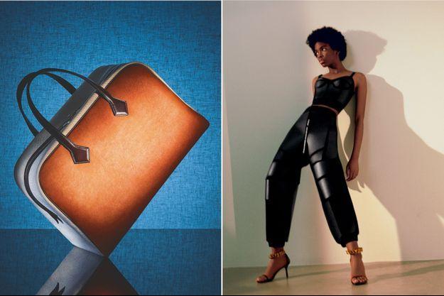 A g.: En annonçant la commercialisation d'ici la fin de l'année 2021 de son premier it bag en cuir végétal de champignon, le sac de voyage Victoria, Hermès a secoué l'industrie du luxe. A d., douce et dense au toucher, la tenue signée Stella McCartney, en cuir de champignon.