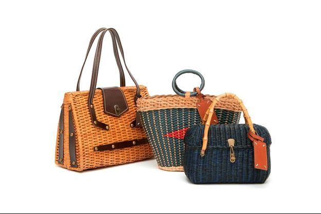 Sacs paniers collection Recicla, des pièces uniques chinées en Italie et retravaillées par les ateliers de Maison Margiela.