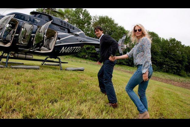 Frédéric Fekkai n route pour Manhattan avec son épouse Shirin, dans leur hélicoptère privé.