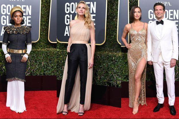 Janelle Monae/Julia Roberts/Irina Shayk et Bradley Cooper lors des Golden Globes 2019.