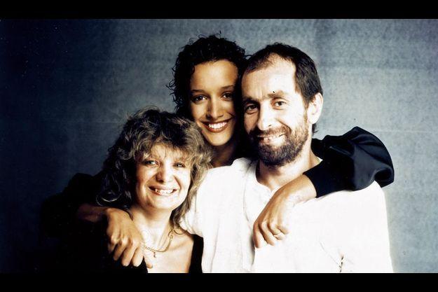 Marithé et François Girbaud avec l'héroïne de « Flashdance ».