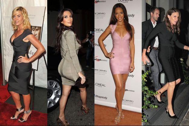 Kate Winslet, Kim Kardashian, Rihanna et Caitlyn Jenner en robe Hervé Leger.