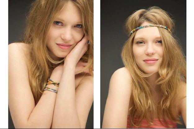 """Léa Seydoux, naturelle pour la campagne pour le """"Bracelet Magic"""" de Claudie Pierlot, en collaboration avec l'association sénégalaise la Maison rose."""