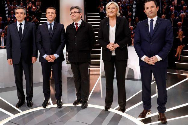 Les candidats lors du premier débat de la présidentielle sur TF1.