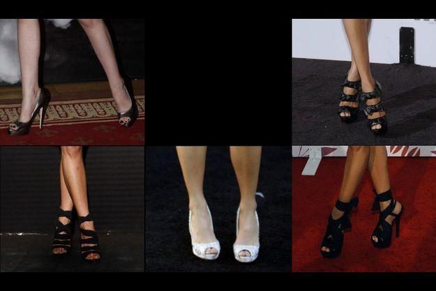 De g. à dr. et de haut en bas, les pieds de: Kristen Stewart, Zoe Saldana, Jennifer Aniston, Nikki Reed, Eva Longoria.