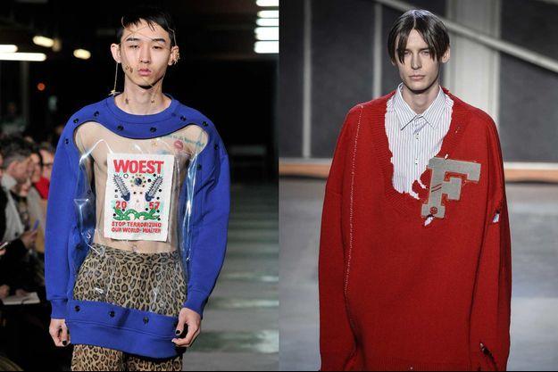 Fashion Week de Paris. Les hommes défilent en Walter Van Beirendonck (à gauche) et Raf Simons (à droite).