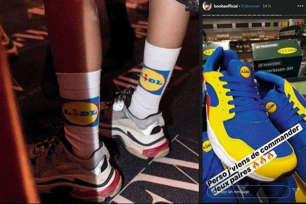 Chaussettes Lidl et baskets Triple S de Balenciaga, le duo hype de la fashion week d'Amsterdam du printemps-été 2019. A d., le 3 juillet 2020, le rappeur Booba valide les baskets sur son Instagram.