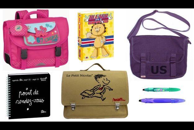 Un cartable Chipie, un agenda Ben, un cartable Le Petit Nicolas, un agenda Bleach, un sac US et des stylos Easy Clic de Bic.