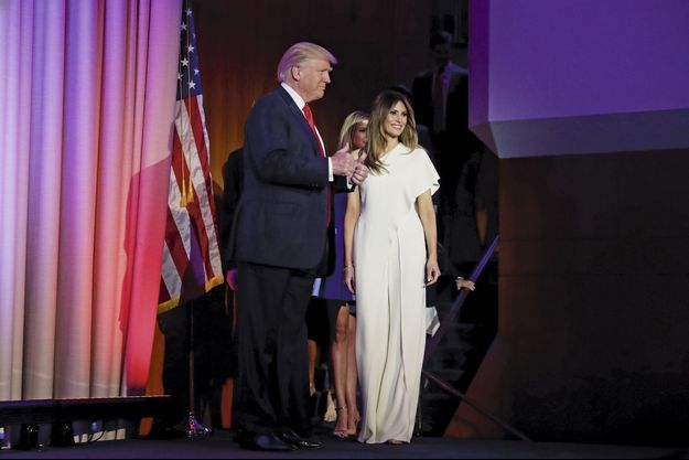 Melania Trump, en Ralph Lauren, le soir de l'élection de Donald Trump.