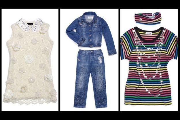 Robe blanche Elsy Girl, ensemble en denim Diesel Kid, tee-shirt et bandeau Rykiel Enfant