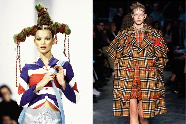 A g. : l'iconique Kate Moss arborant les couleurs de l'Union Jack, défilé John Galliano « Olivia le flibustier », printemps-été 1993. A d.: le tartan interprété par Burberry.