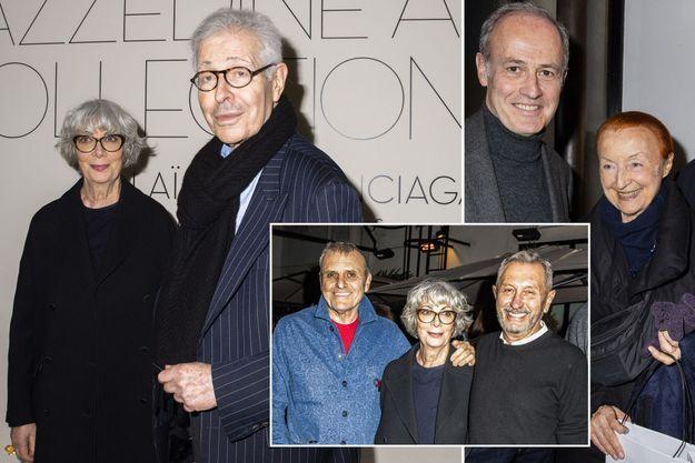 Sylvie et Didier Grumbach, à gauche. À droite, Xavier Romatet et Claude Brouet. En bas, Jean-Charles de Castelbajac, Sylvie Grumbach et Angelo Tarlazzi.