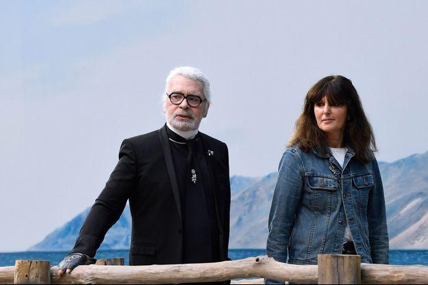 Karl Lagerfeld et Virginie Viard en octobre 2018.