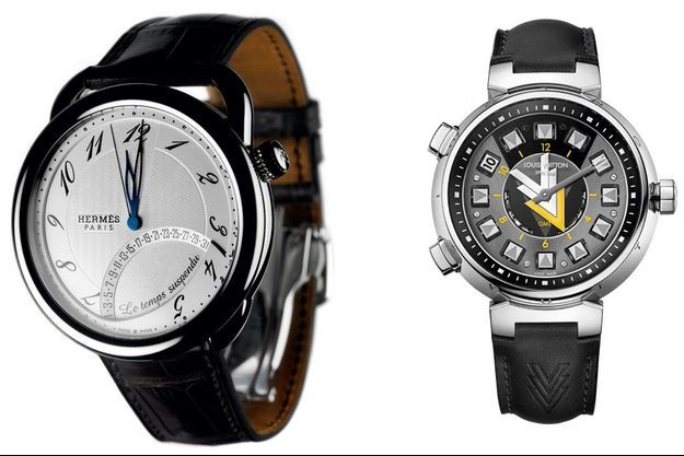 Montre Hermès Arceau Temps Suspendu et Louis Vuitton Tambour VVV.