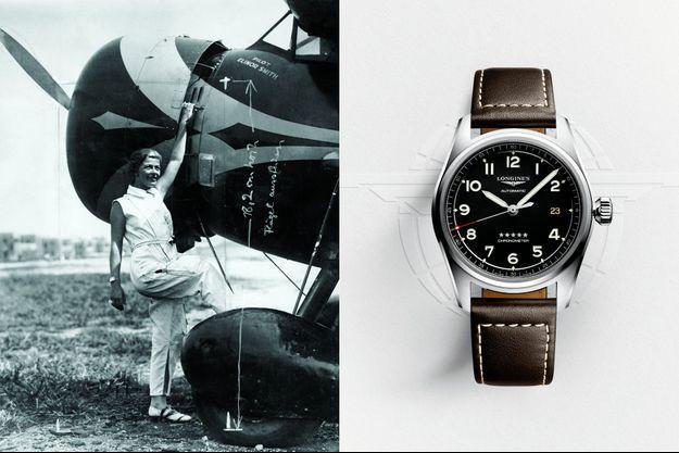 Elinor Smith pose fi èrement devant son appareil. A d.: Le modèle de la collection Spirit, 40 mm de diamètre, mouvement à remontage automatique, chronomètre certifi é, boîtier acier et bracelet en cuir, 2 020 €.