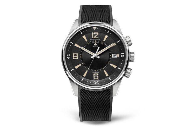 Réveil Polaris Memovox en acier, mouvement automatique, bracelet en caoutchouc. Jaeger-LeCoultre.