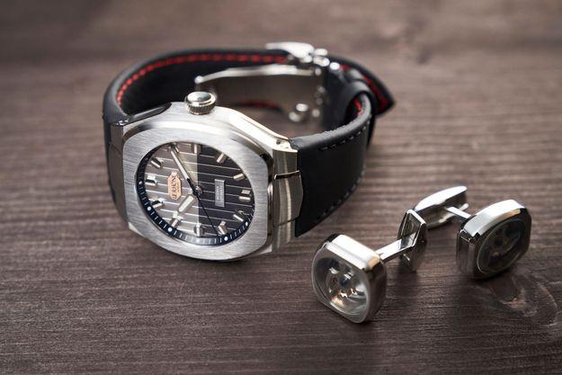 La montre Le Rhöne Hedönia, automatique, à trois aiguilles centrales.