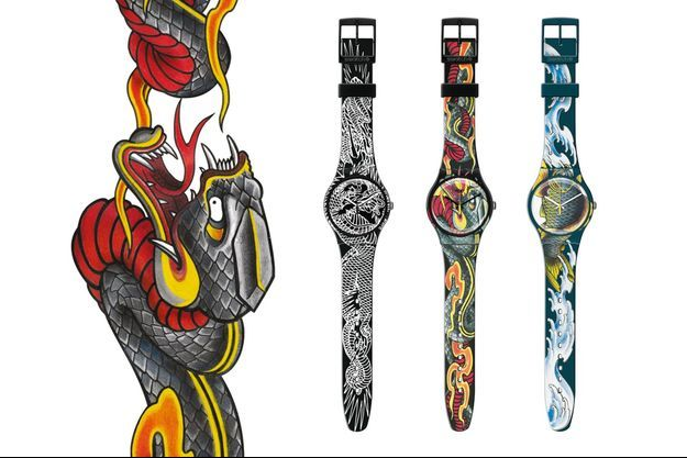 New Gent, boîte en plastique, bracelet en silicone, mouvement à quartz. Swatch. 75 €.