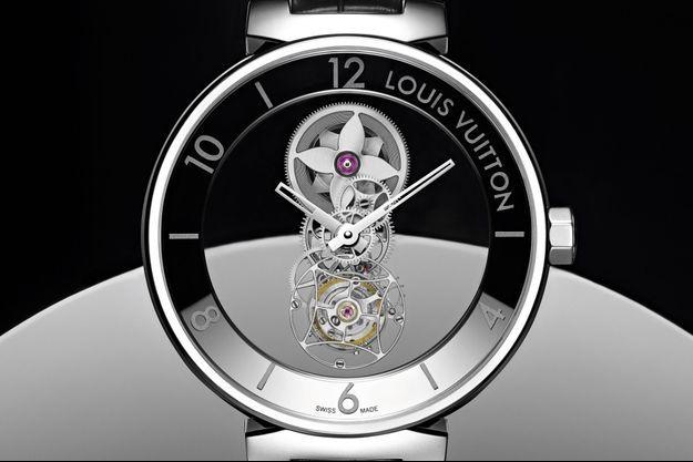 Tambour Moon Mystérieuse en platine, mouvement tourbillon à remontage manuel, bracelet en alligator. Louis Vuitton.