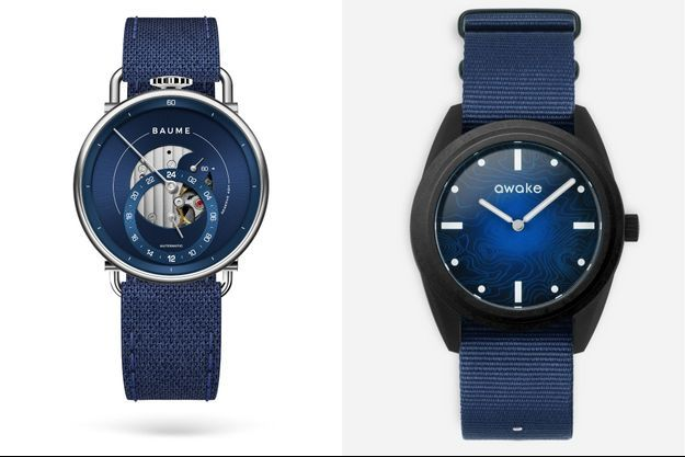 La Custom Timepiece de Baume et, à droite, la montre Bleue issue de la collection Origins d'Awake.