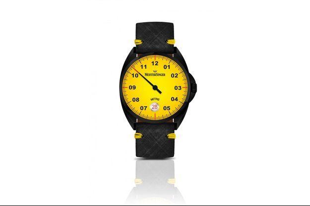 Ce nouveau garde-temps, au design seventies, se singularise par son cadran jaune vif,
