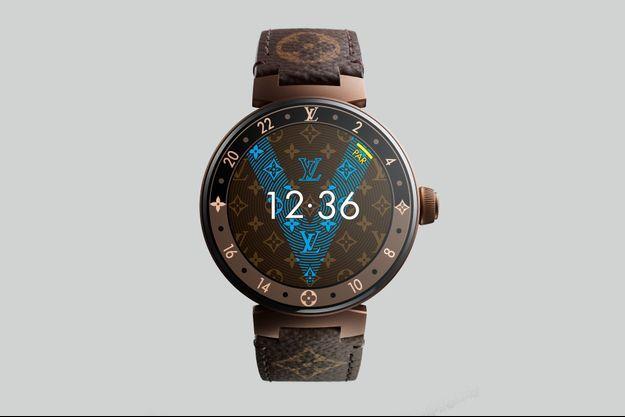 Tambour Horizon en acier PVD brun, 42 mm de diamètre, bracelet interchangeable, à partir de 2 400 €. Louis Vuitton.