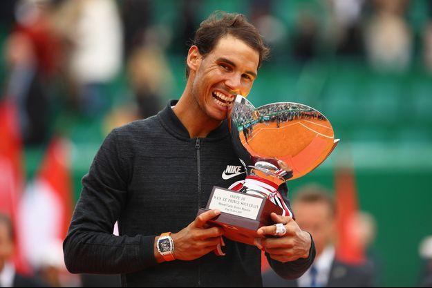 23 avril 2017. Rafael Nadal, montre Richard Mille au poignet, vainqueur de l'Espagnol Albert Ramos-Vinolas en finale du Masters 1000 de Monte-Carlo.