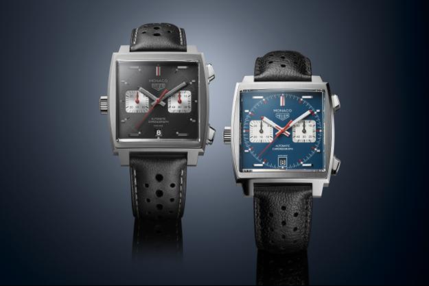 Le chronographe carré Monaco présenté pour la première fois en 1969. La marque a sorti cinq modèles en guise de cadeaux d'anniversaires.